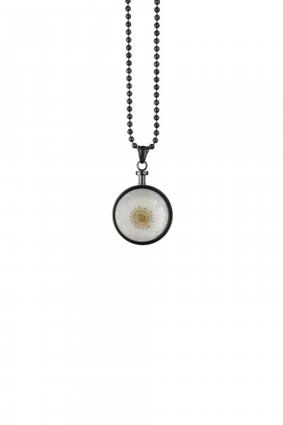 Blumenkind Anhänger Grau,  Blume Weiss