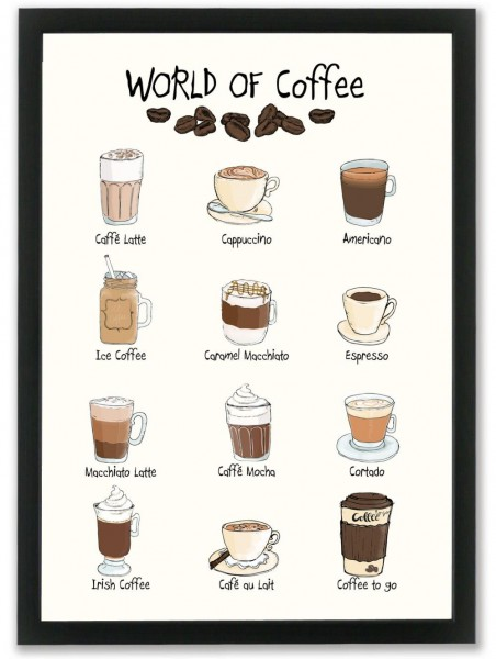 "Mouse and Pen Poster ""World of Coffee"" A4"