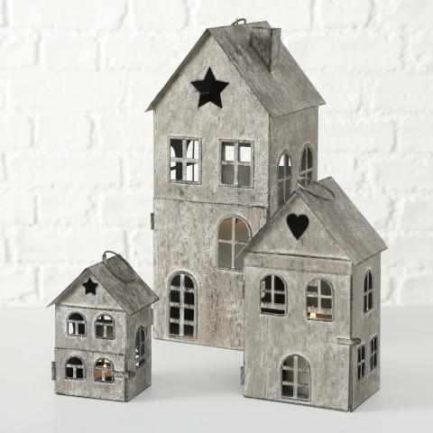 Windlicht / Laterne Haus H: 13 cm Antikbraun