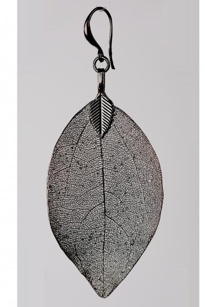 Blumenkind Blatt-Anhänger Edelstahl Grau, small