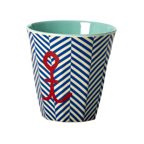 Rice Melamin Becher Two Tone Sailor Stripe mit Anker