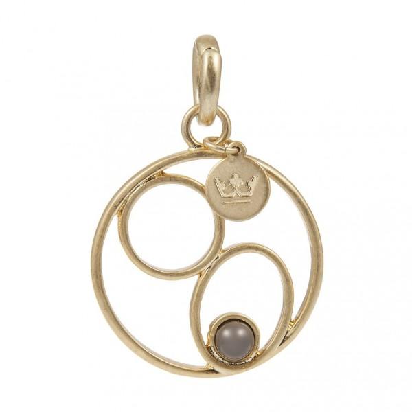 Sence Copenhagen Charm Grey Agate worn gold