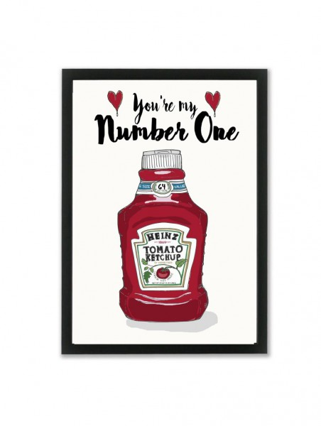 "Mouse and Pen Poster ""Heinz You Are My Numer One"" A4"