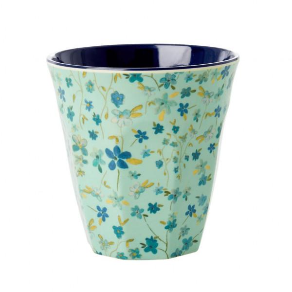 Rice Melamin Becher Blue Floral Print Two Tone Medium