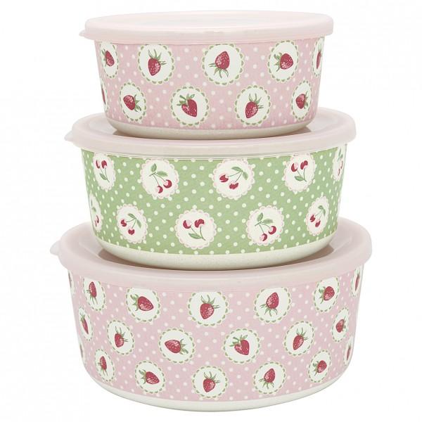 Greengate 3tlg. Set Aufbewahrungsboxen Strawberry pale pink