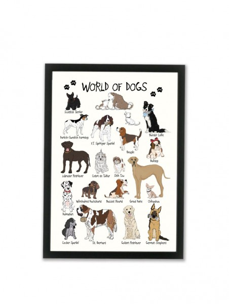 "Mouse and Pen Poster ""World of Dogs"" A4"