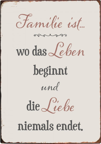 """Ib Laursen Metallschild """"Familie ist..."""""""