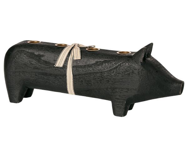Maileg Kerzenhalter Adventsschwein Schwarz, gross