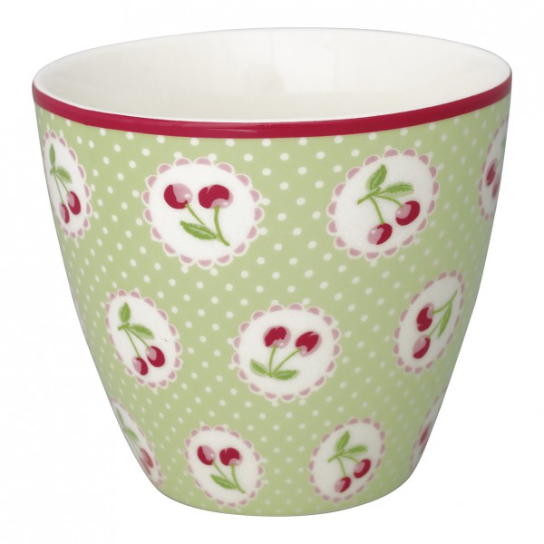 Greengate Latte Cup Cherry Berry pale green