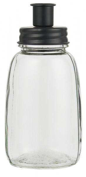 Ib Laursen Stabkerzenhalter Glas schwarzer Deckel