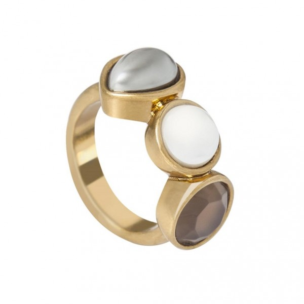 Sence Copenhagen  Ring Grey Agate worn gold S8