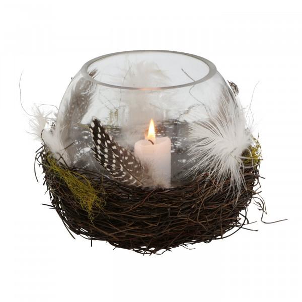 Glas-Windlicht Natur mit Federn H 14 cm