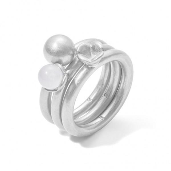 Sence Copenhagen Ring-Set Clover Rosenquarz matt silver