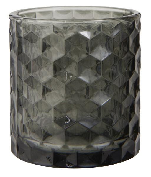 Ib Laursen Teelichthalter aus Glas grau