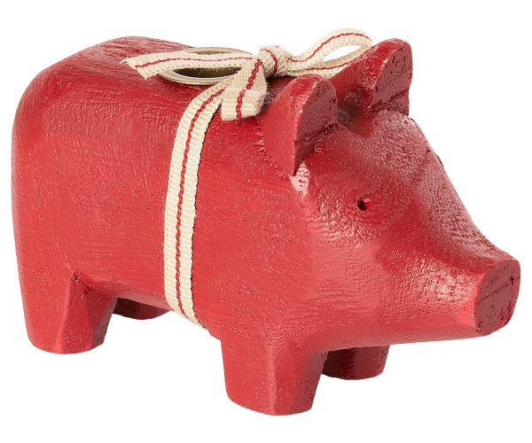 Maileg Kerzenhalter Holzschwein Klein Rot